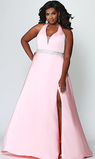 Long A-Line Halter Plus Formal Gown with a V-Neck