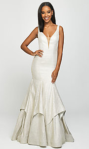 Image of long Madison James sparkle-net trumpet prom dress. Style: NM-19-132 Detail Image 1