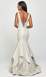 Image of long Madison James sparkle-net trumpet prom dress. Style: NM-19-132 Back Image
