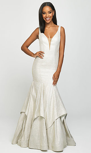 Long Madison James Sparkle-Net Trumpet Prom Dress