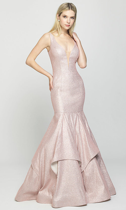 Image of long Madison James sparkle-net trumpet prom dress. Style: NM-19-132 Front Image