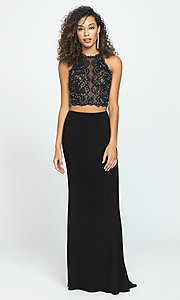 Image of long two-piece Madison James prom dress. Style: NM-19-189 Detail Image 1
