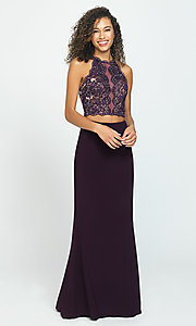 Image of long two-piece Madison James prom dress. Style: NM-19-189 Front Image