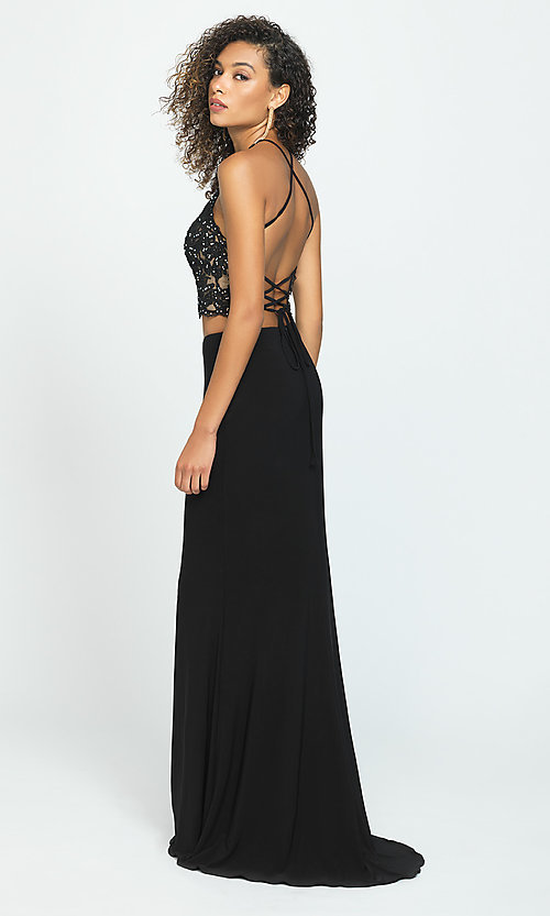 Image of long two-piece Madison James prom dress. Style: NM-19-189 Back Image