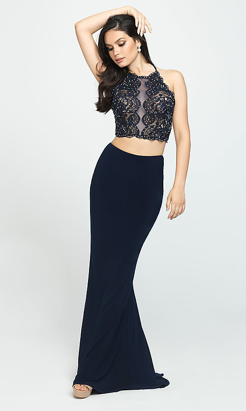 Image of long two-piece Madison James prom dress. Style: NM-19-189 Detail Image 2