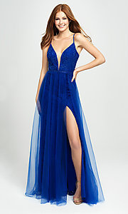 Image of sparkly long formal prom dress with sheer overlay. Style: NM-19-195 Front Image