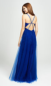 Image of sparkly long formal prom dress with sheer overlay. Style: NM-19-195 Back Image