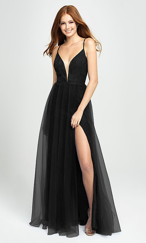 Image of sparkly long formal prom dress with sheer overlay. Style: NM-19-195 Detail Image 1