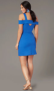 Image of button-up casual short cold-shoulder party dress. Style: EM-HGW-4038-420 Back Image