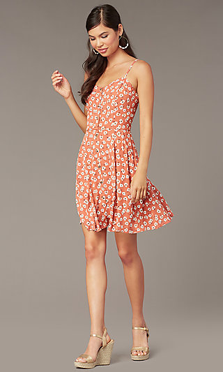 Short Floral-Print Casual Party Dress with Buttons