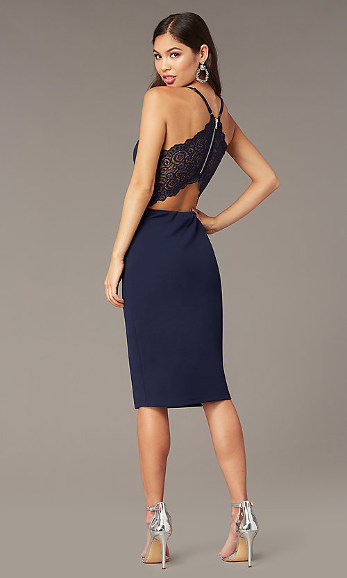 Image of navy blue short wedding-guest dress with lace. Style: EM-HIY-3405-430 Back Image