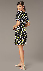 Image of floral-print v-neck short party dress with sleeves. Style: EM-HJO-4175-039 Back Image