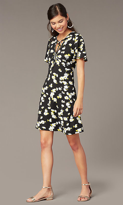 Image of floral-print v-neck short party dress with sleeves. Style: EM-HJO-4175-039 Front Image
