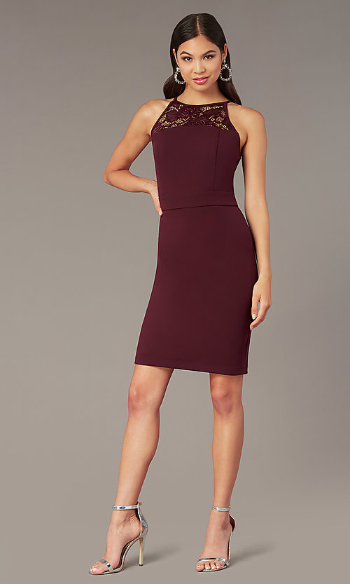 Image of plum purple short sleeveless party dress. Style: EM-HIR-3546-521 Front Image