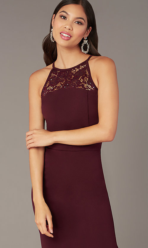 Image of plum purple short sleeveless party dress. Style: EM-HIR-3546-521 Detail Image 1