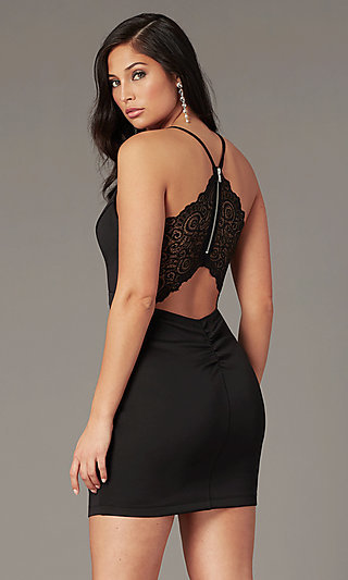 Lace-Back Short Black Bandage-Skirt Party Dress