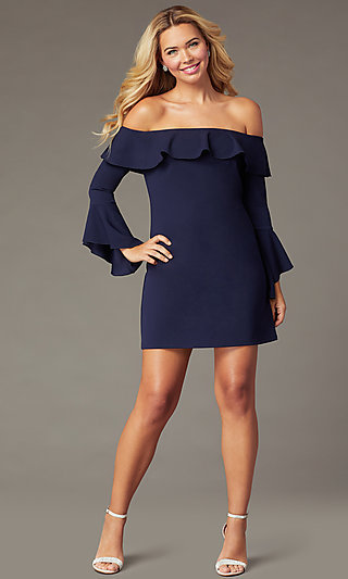 Off-Shoulder Short Shift Wedding-Guest Navy Dress