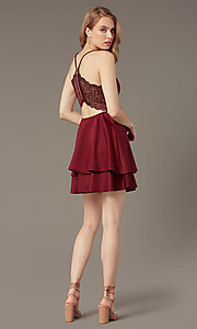 Image of tiered-skirt short v-neck party dress. Style: EM-FQP-1003-560 Back Image