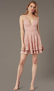 Image of lace v-neck short party dress in rose pink. Style: EM-FQP-3282-630 Front Image