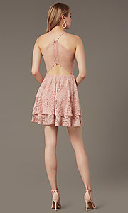 Image of lace v-neck short party dress in rose pink. Style: EM-FQP-3282-630 Back Image