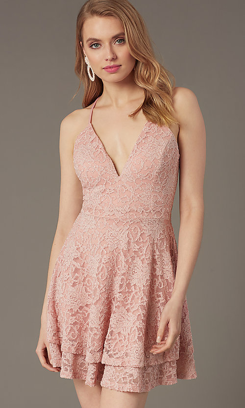 Image of lace v-neck short party dress in rose pink. Style: EM-FQP-3282-630 Detail Image 1