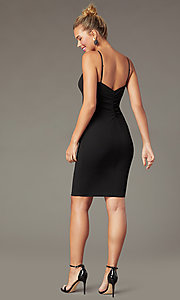 Image of empire-waist short black sheath cocktail dress. Style: EM-FWD-3405-001 Back Image