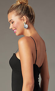 Image of empire-waist short black sheath cocktail dress. Style: EM-FWD-3405-001 Detail Image 1