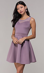 Image of mauve pink scuba party dress with sheer back. Style: DC-D46680m Detail Image 4
