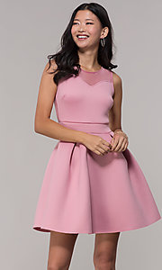 Image of mauve pink scuba party dress with sheer back. Style: DC-D46680m Front Image