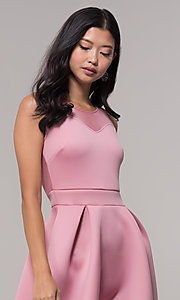Image of mauve pink scuba party dress with sheer back. Style: DC-D46680m Detail Image 1