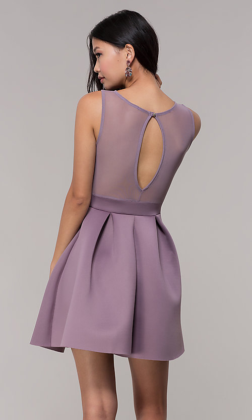 Image of mauve pink scuba party dress with sheer back. Style: DC-D46680m Detail Image 5