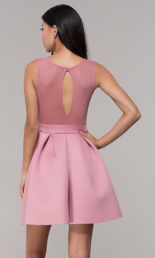Image of mauve pink scuba party dress with sheer back. Style: DC-D46680m Back Image