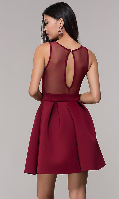 Image of mauve pink scuba party dress with sheer back. Style: DC-D46680m Detail Image 3