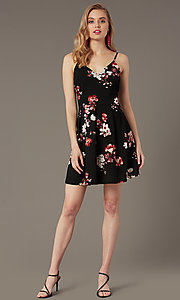 Image of short black a-line party dress with floral print. Style: EM-HKB-4210-022 Front Image