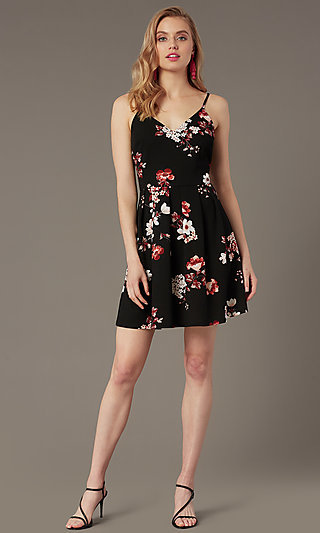 Short Black A-Line Party Dress with Floral Print