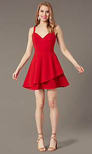 Image of v-neck short red tiered wedding-guest party dress. Style: EM-HKN-3405-600 Front Image