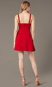 Image of v-neck short red tiered wedding-guest party dress. Style: EM-HKN-3405-600 Back Image