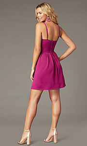 Image of magenta pink short glitter party dress. Style: EM-HKB-2589-666 Back Image