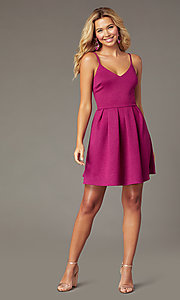 Image of magenta pink short glitter party dress. Style: EM-HKB-2589-666 Detail Image 1