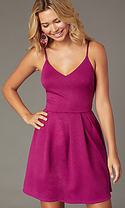 Image of magenta pink short glitter party dress. Style: EM-HKB-2589-666 Front Image