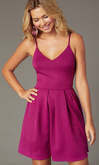 cdf56e502208 Magenta Pink Short Glitter Party Dress