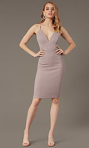 Image of deep-v-neck knee-length cocktail party dress.  Style: EM-HIY-3646-530 Front Image