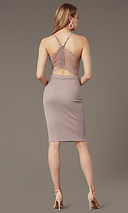 Image of deep-v-neck knee-length cocktail party dress.  Style: EM-HIY-3646-530 Back Image