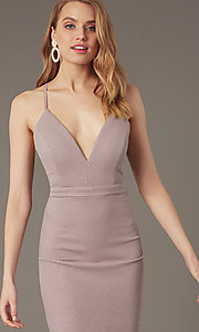 Image of deep-v-neck knee-length cocktail party dress.  Style: EM-HIY-3646-530 Detail Image 1