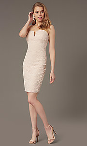 Image of lace notched-neckline short wedding-guest dress. Style: EM-FWD-3831-690 Front Image