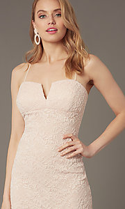 Image of lace notched-neckline short wedding-guest dress. Style: EM-FWD-3831-690 Detail Image 1