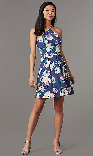 Wedding Guest Triangle Neck Floral Print Party Dress