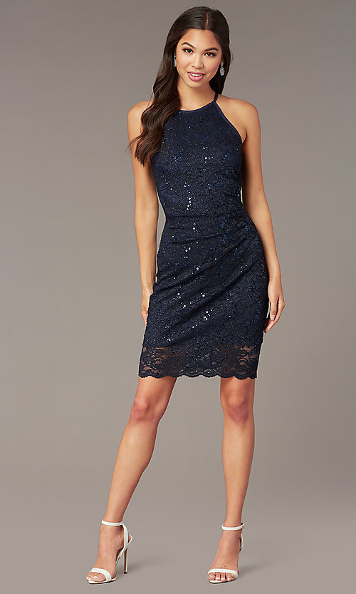 Image of short sequin-lace wedding-guest party dress. Style: JU-11344 Front Image