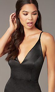 Image of little black cocktail party dress in satin. Style: JU-11298 Detail Image 2