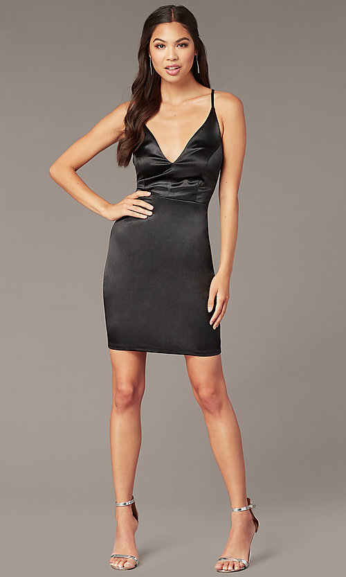 Image of little black cocktail party dress in satin. Style: JU-11298 Front Image